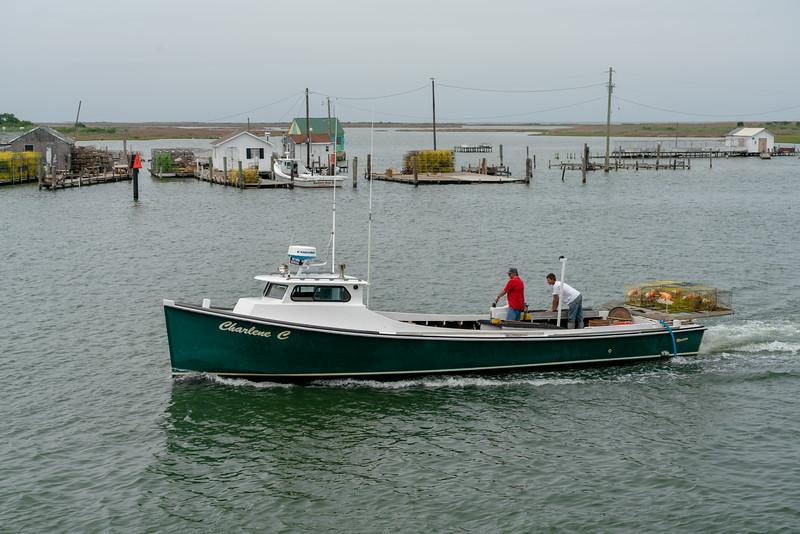 Charlene C deadrise boat on Tangier.