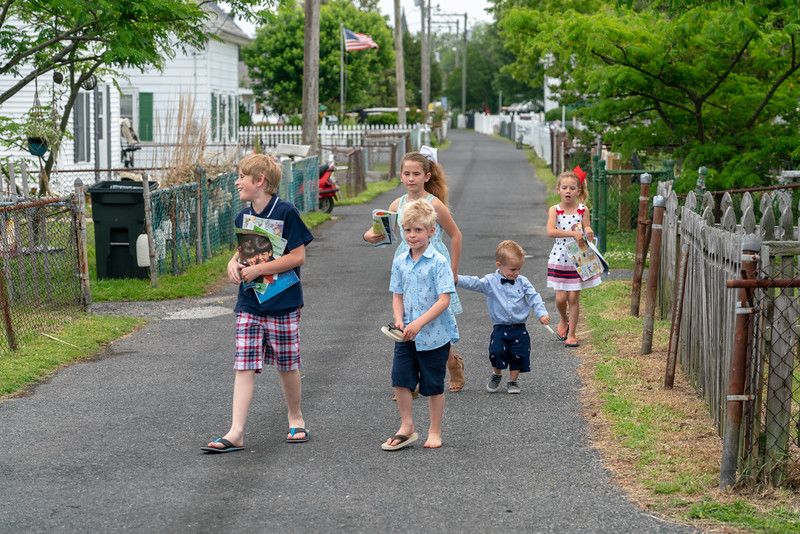 Kids on the way to church on Sunday.