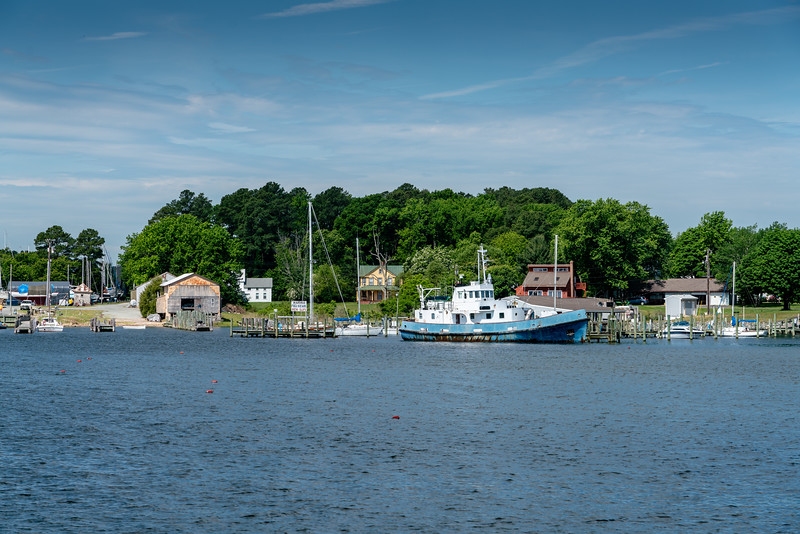 The Chesapeake Breeze departs for Tangier Island from Reedville, Virginia. This is the marina in Reedville.