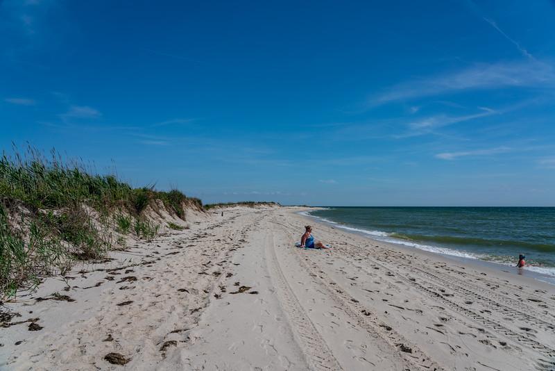 A woman on the beach.