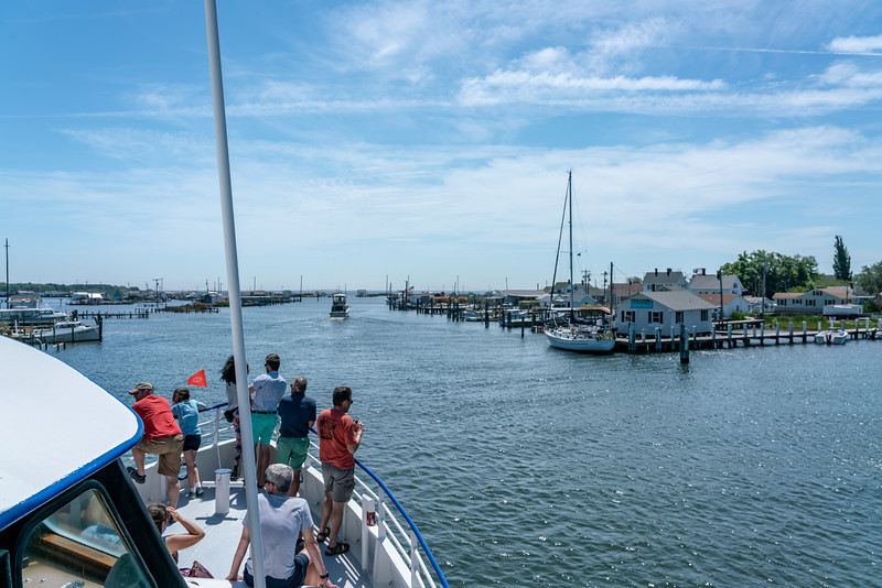 Everyone enjoying the view as we arrive in Tangier Island.