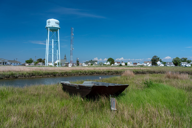 Old boat and water tower.