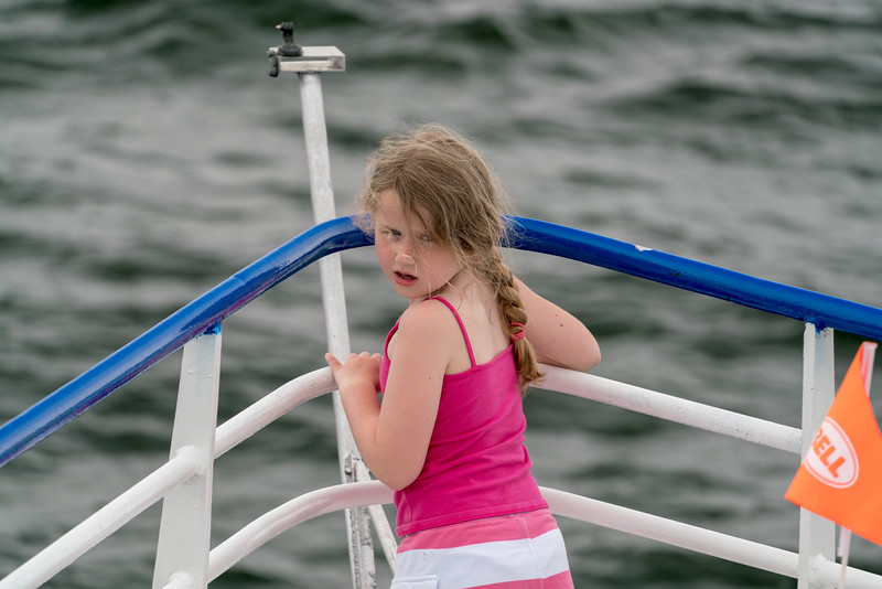 A little girl on the bow of the Chesapeake Breeze as we head west towards Reedville.