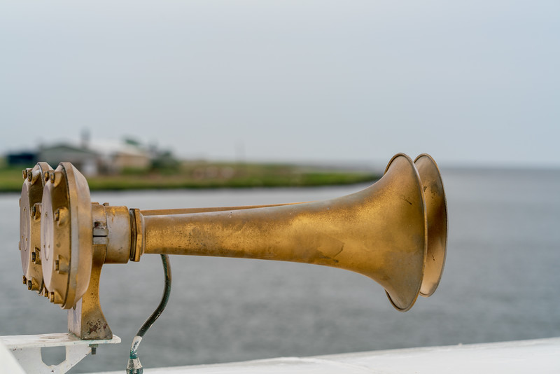 The Chesapeake Breeze horns, with the Tangier airport behind.