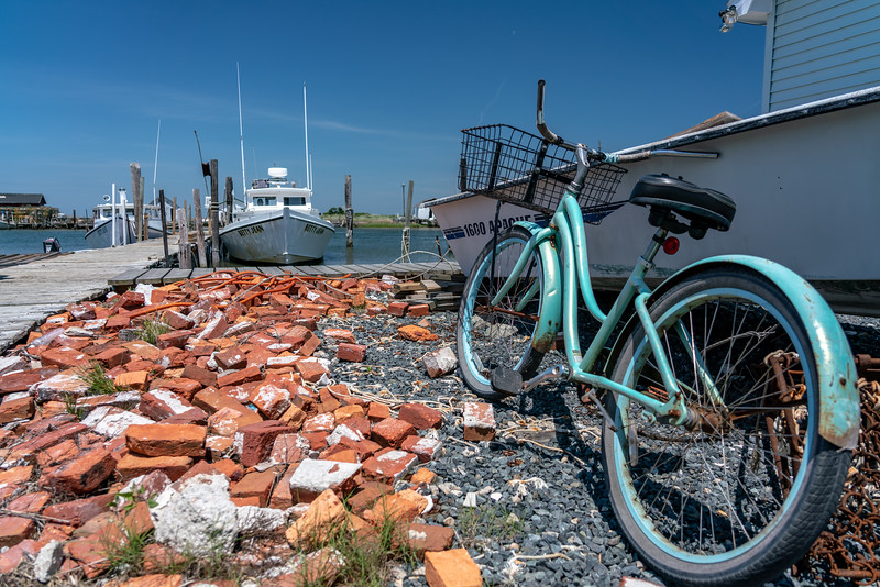A bicycle at a dock on the Tangier North Channel.