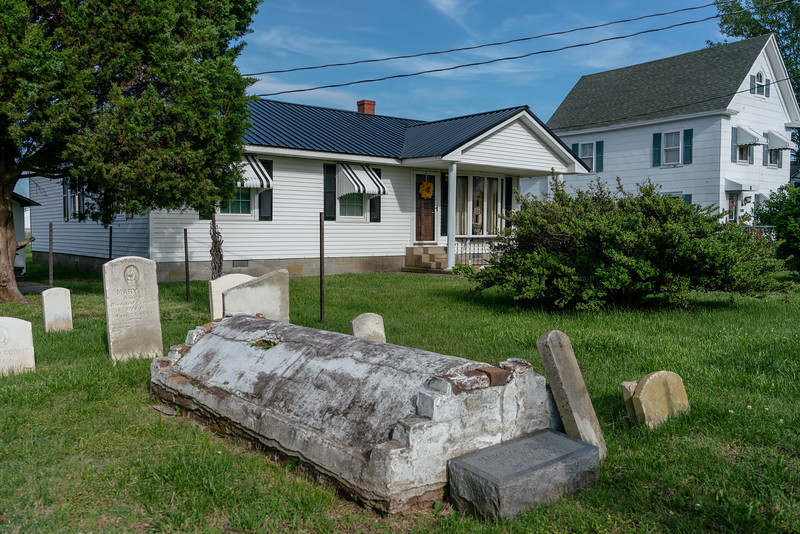 Graves in the front yard.