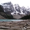 Mouraine Lake surrounded by snowy Rockies