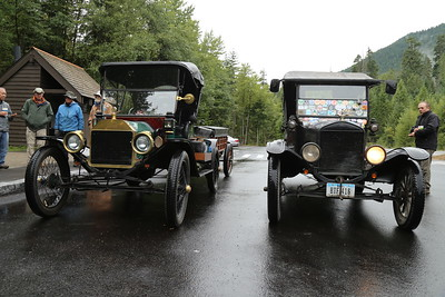 A pair of Model T's on Mount Rainier