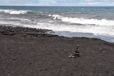 The black beach at the 1974 lava flow, volcano tour, Hawaii.