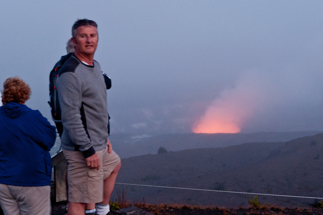 As sunset approached, we did get to see the red glow from the active lava at the crater of Kilauea Volcano, Hawaii's most active volcano.