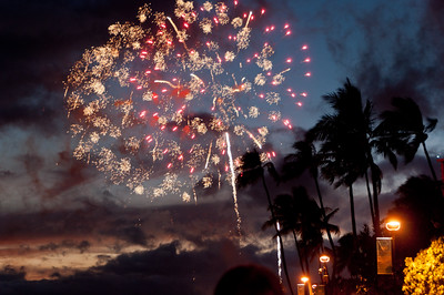 Fireworks on Waikiki Beach, Hawaii,  every Friday evening.