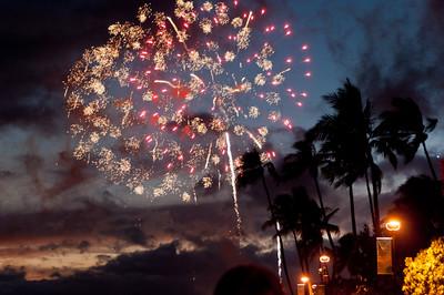 Fireworks on Waikiki Beach, Hawaii,  every Friday evening.