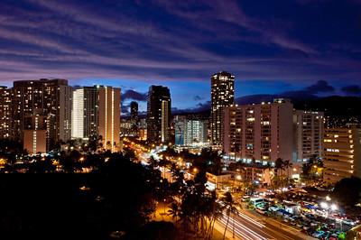 Downtown Waikiki at night, Hawaii