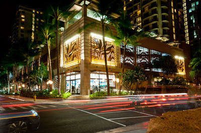 Downtown Waikiki at night, Ohau, Hawaii