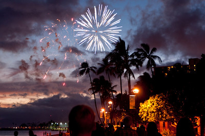 Fireworks on Waikiki Beach, Hawaii,  every Friday evening.  Hand held.