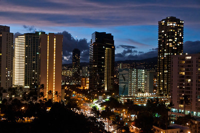 Downtown Waikiki at night, Hawaii
