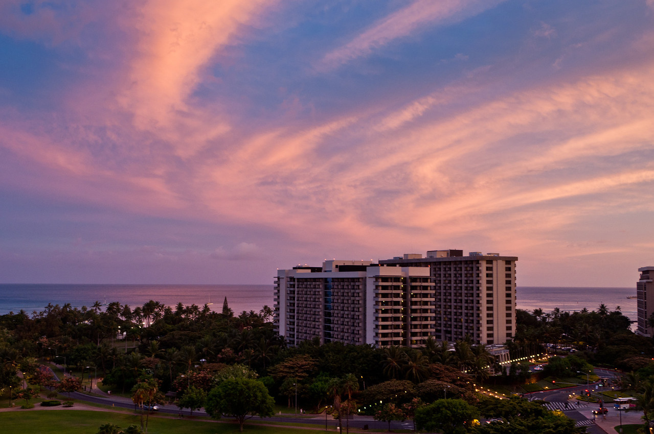 Looking towards Waikiki Beach from our hotel room at sunset, Hawaii.