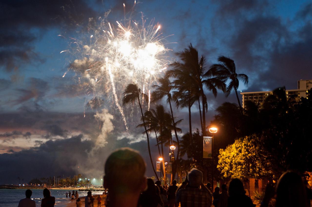 Fireworks on Waikiki Beach, Hawaii,  every Friday evening.  Hand held.
