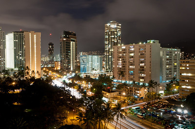 Night Citiscape of downtown Waikiki, Oahu, Hawaii, taken form our hotel room (Outrigger Luana)