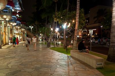 Downtown Waikiki at night, Ohau, Hawaii