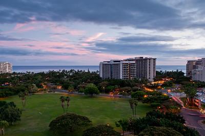 Looking towards Waikiki Beach, Oahu, Hawaii form our hotel room.