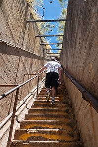 One of the steep stairways to the top of Diamond Head, Ohau, Hawaii