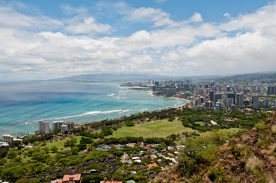 Views of Waikiki from the top of Diamond Head, Ohau, Hawaii