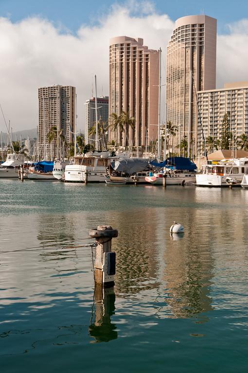 Marina at Waikiki Beach, Oahu, Hawaii