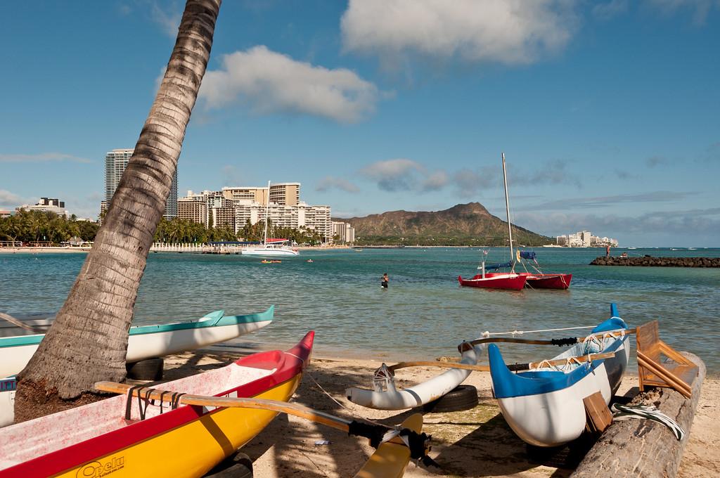 Waikiki Beach, Oahu, Hawaii  Diamond Head is seen in the background.