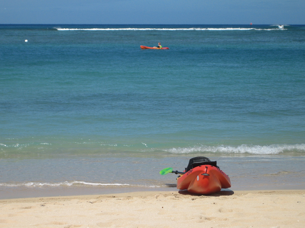 Kayaking on Waikiki Beach, Oahu, Hawaii