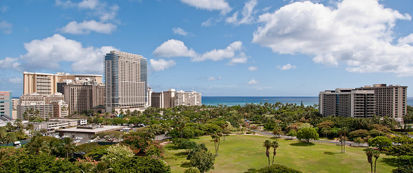 Panorama, looking towards Waikiki Beach from our hotel room,(Outrigger Luanna), Waikiki, Hawaii