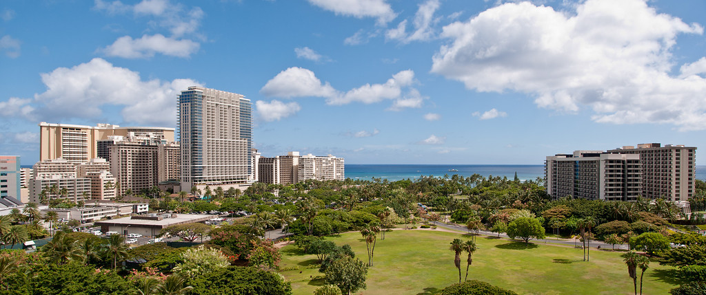 Panorama, looking towards Waikiki Beach from our hotel room,(Outrigger Luanna), Waikiki, Hawaii