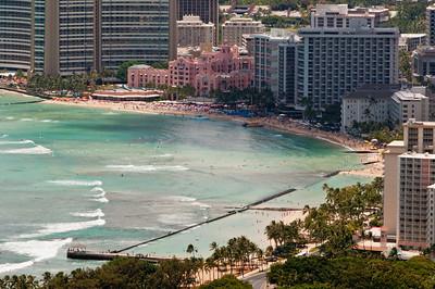 Views of Waikiki from the top of Diamond Head, Ohau, Hawaii