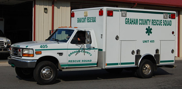 """""""Former 405""""<br /> 1992 Ford F-350/Wheeled Coach<br /> Type-I Ambulance<br /> S/N # 90709<br /> <br /> Formerly served Cherokee Tribal EMS, NC<br /> <br /> Now serves ???<br /> <br /> Andrew Messer Photo"""