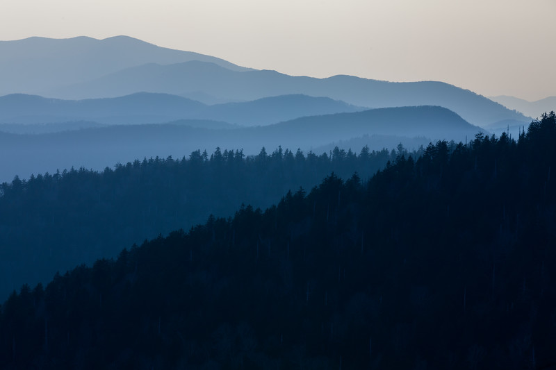 The Smoky Mountains are cast in shadow on a Spring afternoon. Great Smoky Mountains National Park, NC<br /> <br /> NC-120314-0002