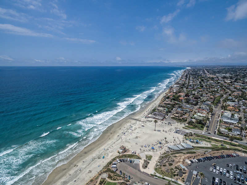 Aerial image of Moonlight Beach, Encinitas, California, USA