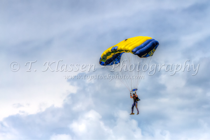 A Navy Seal Leapfrog demonstration at the 2015 Air Show in Fargo, North Dakota, USA.