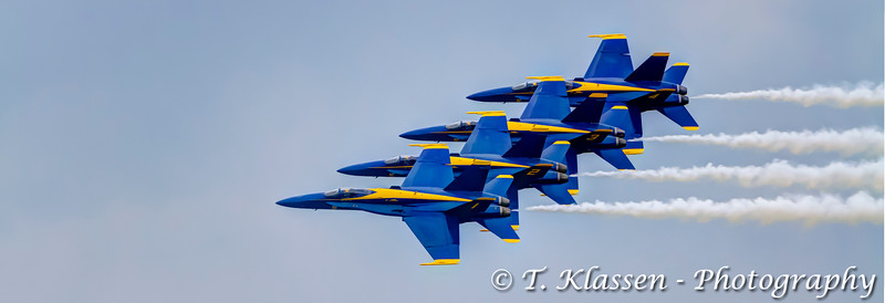 The F-18 fighter aircraft, The Blue Angels at the 2015 Air-Show in Fargo, North Dakota, USA.