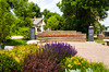 The Myron D Peterson MD Courtyard with flowers in Minot, North Dakota, USA.