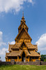 A full size replica of a Stave church at the Scandinavian Heritage Center in Minot, North Dakota, USA.