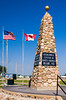 A monument designating the Geographical Center of North America at Rugby, North Dakota, USA.