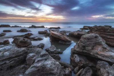 Coquina rock formations at sunrise