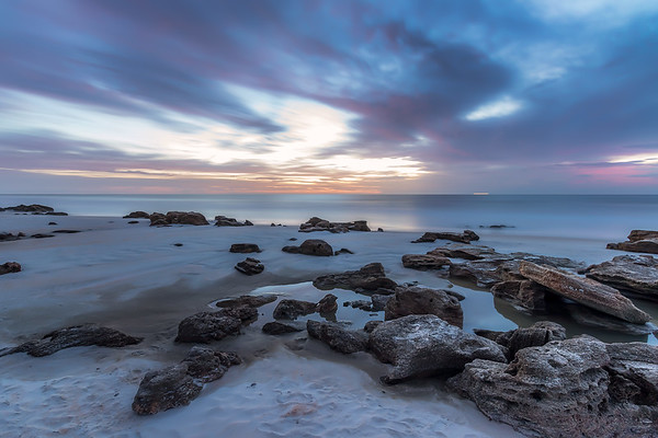 Coquina rock formations at sunrise