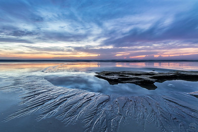Beach Sunrise Water Flow Patterns