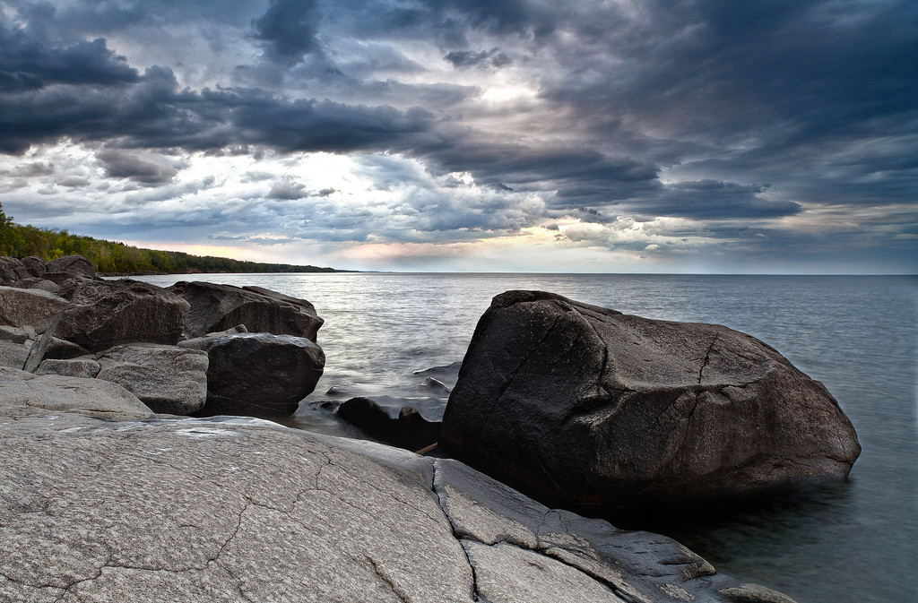 A storm brews over the shores of Lake Superior as viewed from Brighton Beach.  1/3