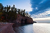 The caves of Crystal Bay as viewed during an early fall sunrise over Lake, Superior.