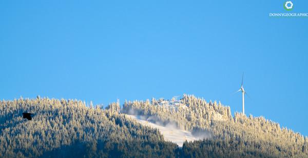 Grouse Mountain ski hill and wind turbine