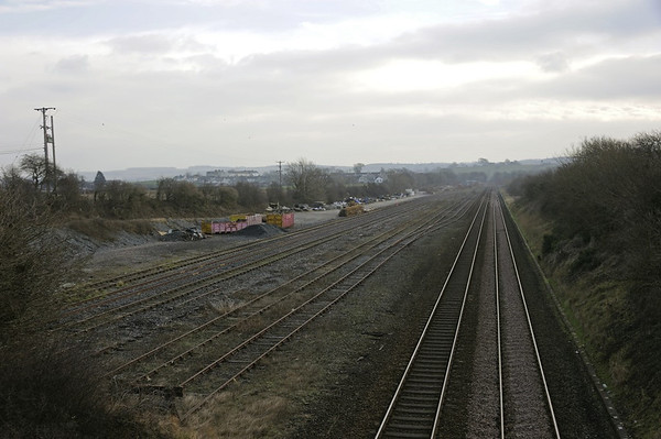 Bottom end sidings, Carnforth, Thurs 30 January 2014.  Looking east towards the former Furness & Midland Junction.  The Midland Rly's bottom end sidings are at left.  The Carnforth - Barrow tracks are at right.