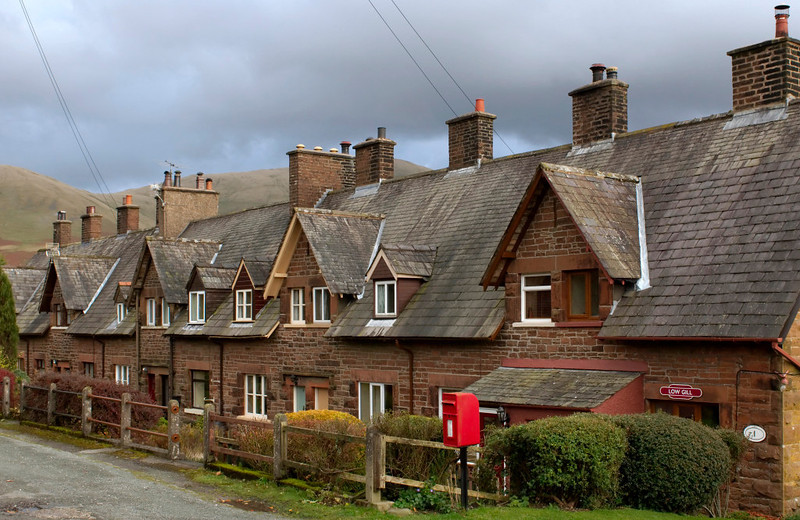 Low Gill railway cottages, 7 November 2008.  The LNWR's branch to Ingleton used to leave the WCML at Low Gill, which had a station serving both routes.  Station and junction are long gone, but these cottages remain.