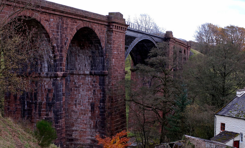Lune Viaduct, Waterside, 7 November 2008 1.  Here are five views of this viaduct.  Listed grade 2*, it is just north of Sedbergh, and crosses the River Lune.  This view looks south east.